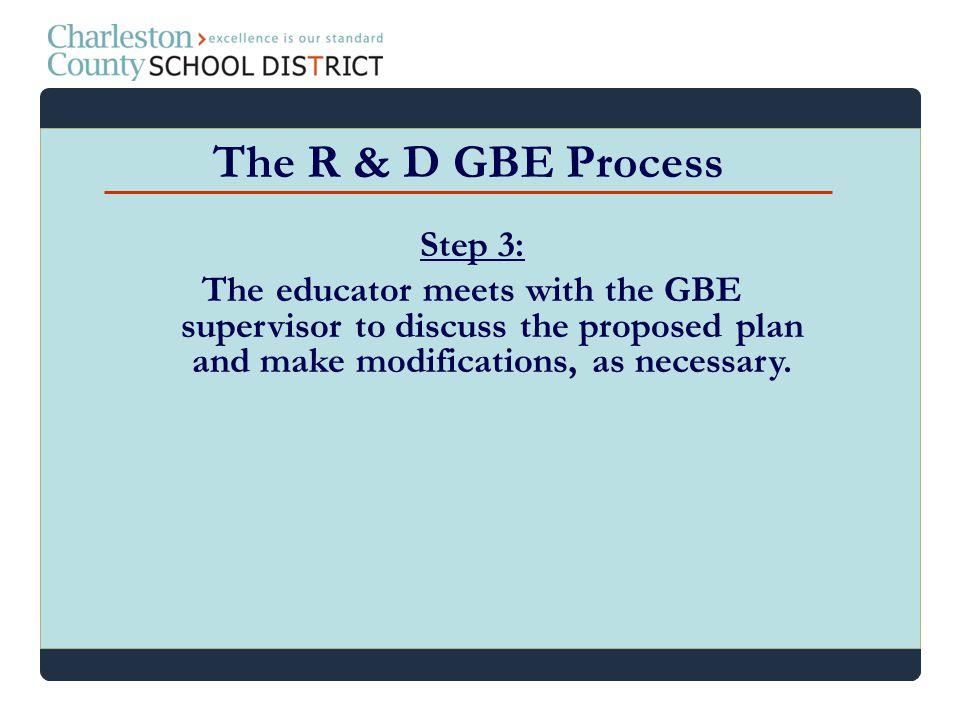 The R & D GBE Process Step 3:
