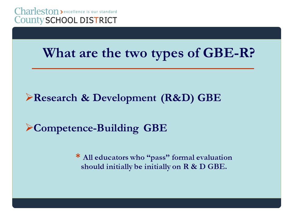 What are the two types of GBE-R