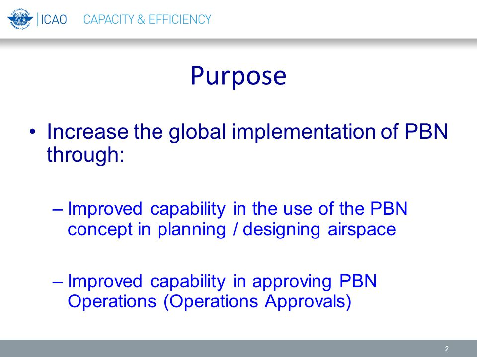 Purpose Increase the global implementation of PBN through: