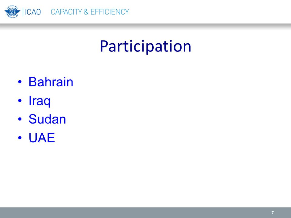 Participation Bahrain Iraq Sudan UAE