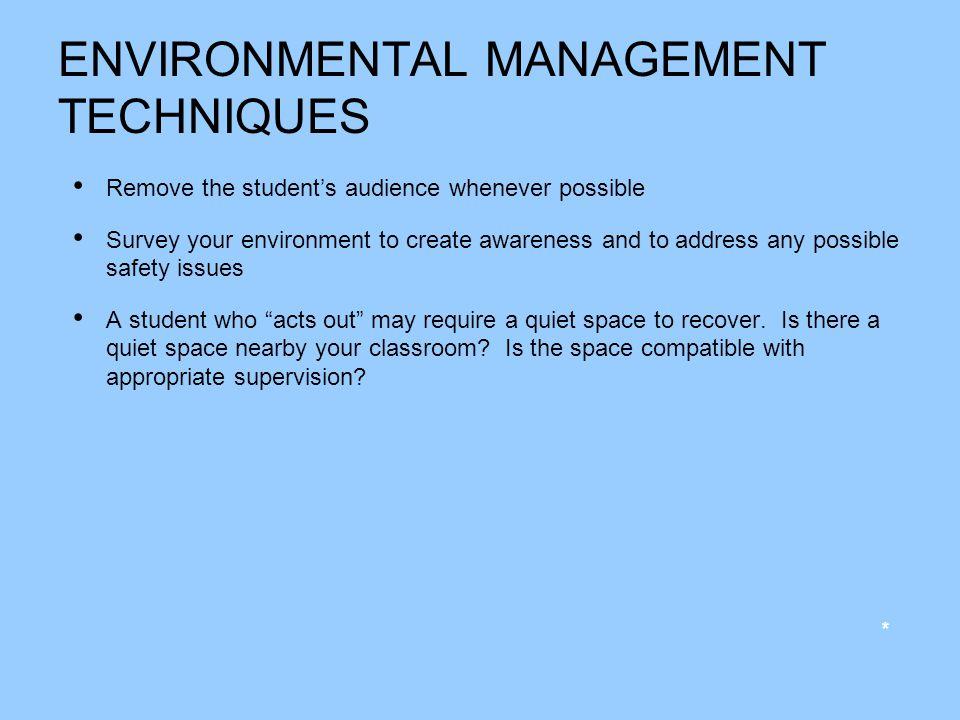 ENVIRONMENTAL MANAGEMENT TECHNIQUES