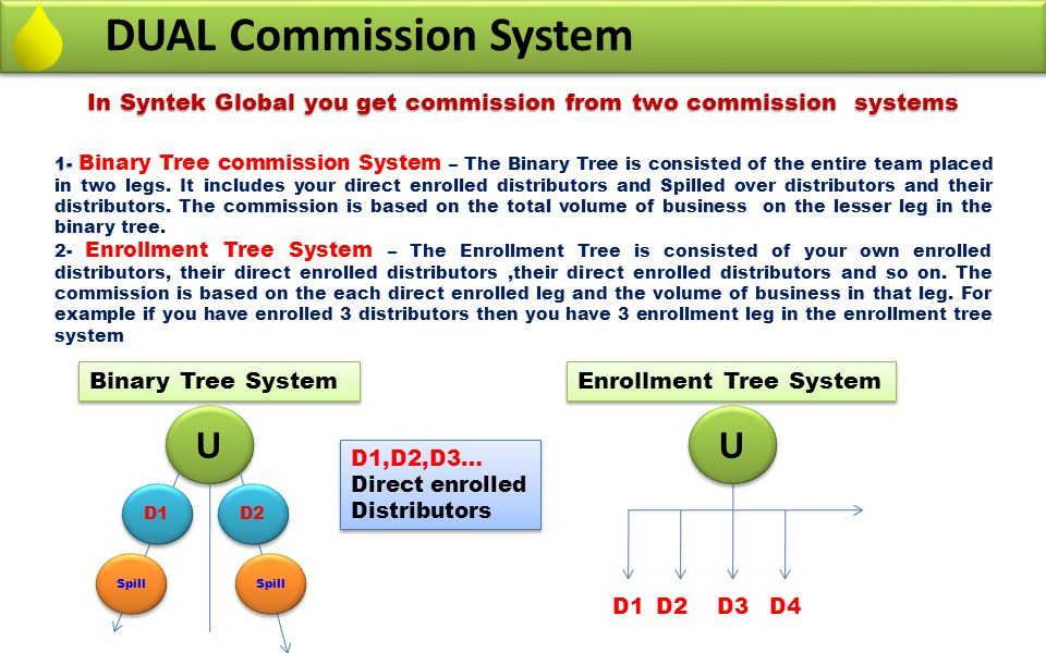In Syntek Global you get commission from two commission systems