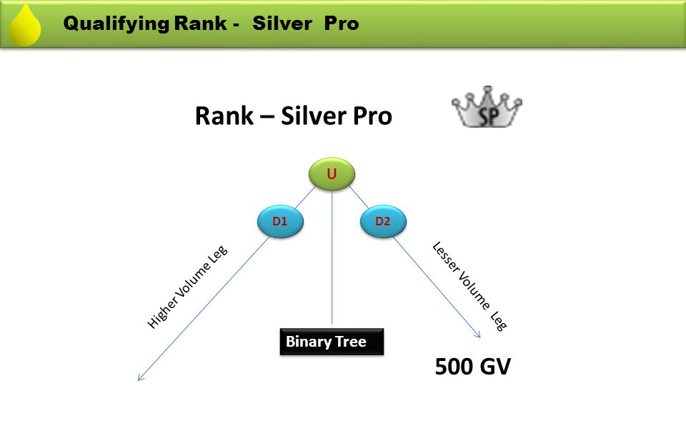 Rank – Silver Pro 500 GV Qualifying Rank - Silver Pro Binary Tree U
