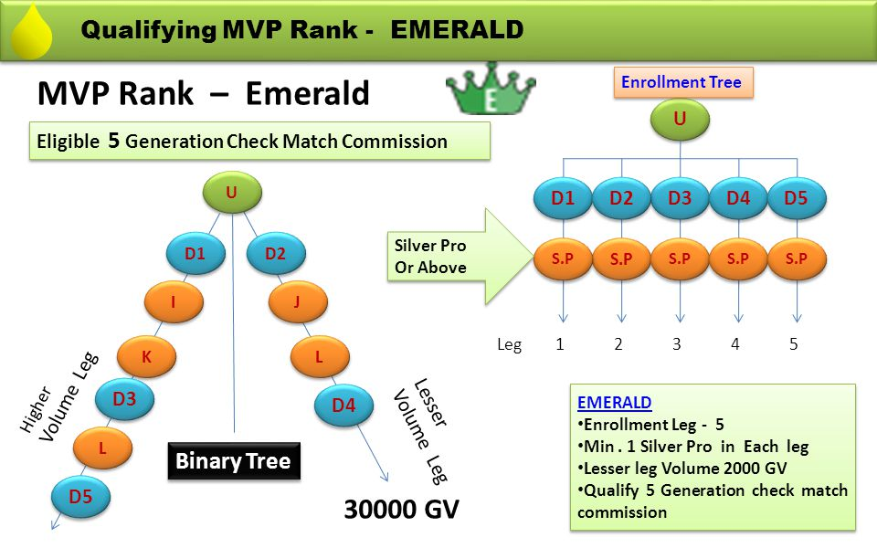 MVP Rank – Emerald 30000 GV Qualifying MVP Rank - EMERALD Binary Tree