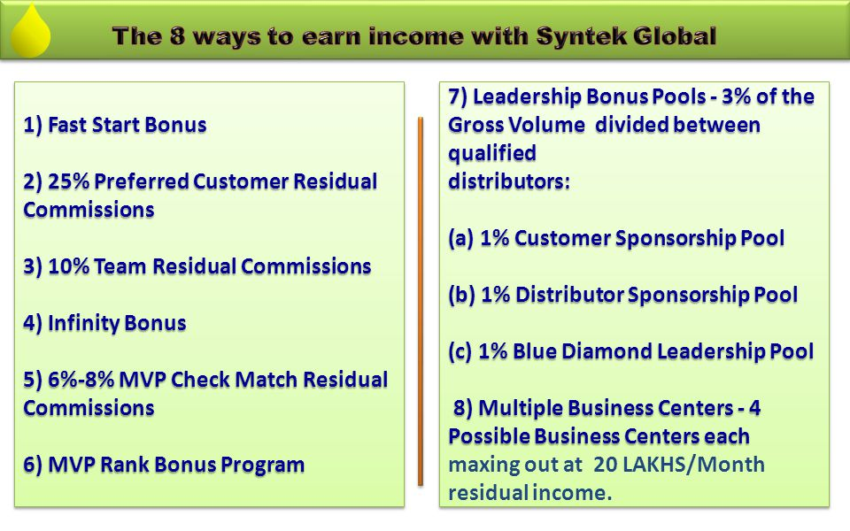The 8 ways to earn income with Syntek Global