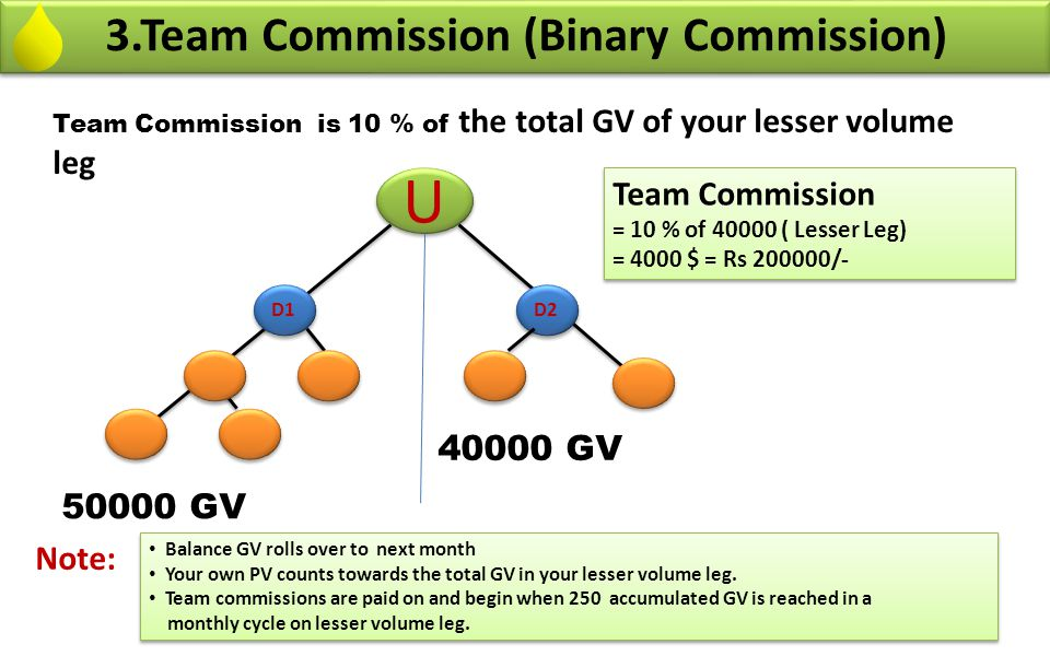 U 3.Team Commission (Binary Commission) Team Commission 40000 GV