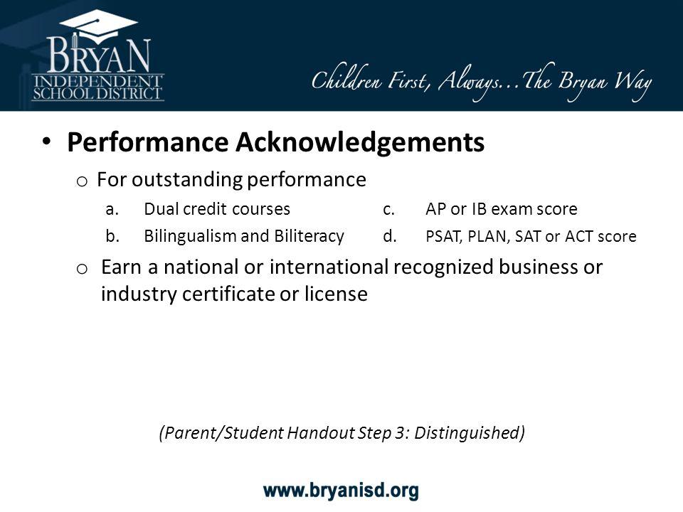 (Parent/Student Handout Step 3: Distinguished)