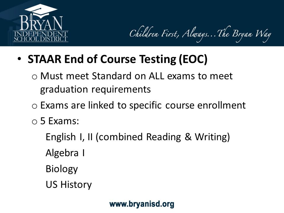 STAAR End of Course Testing (EOC)