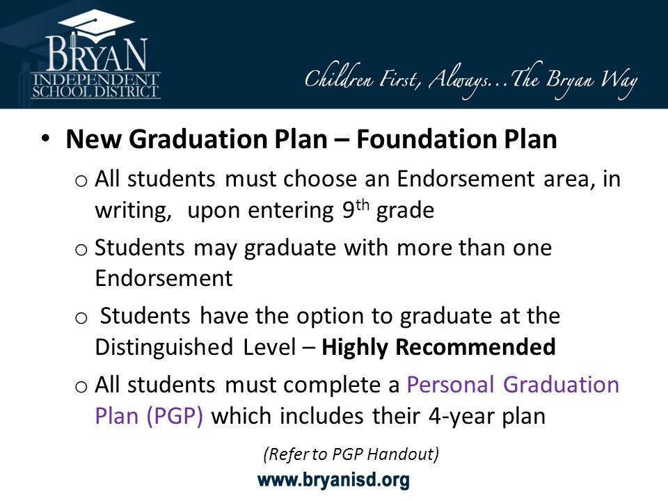 New Graduation Plan – Foundation Plan