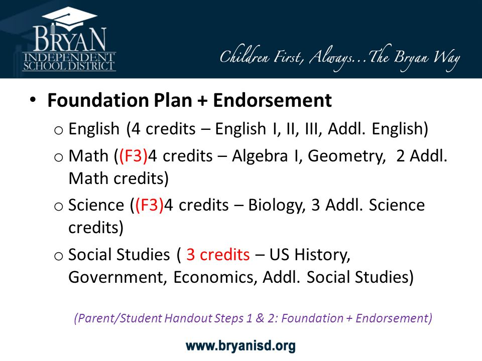 (Parent/Student Handout Steps 1 & 2: Foundation + Endorsement)