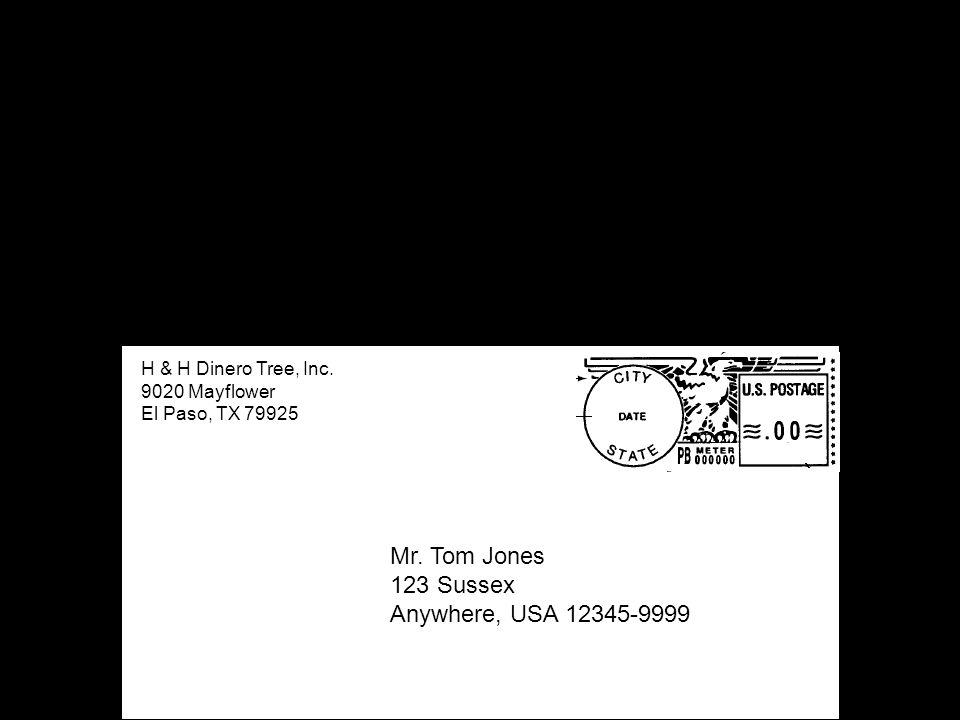 Mr. Tom Jones 123 Sussex Anywhere, USA 12345-9999