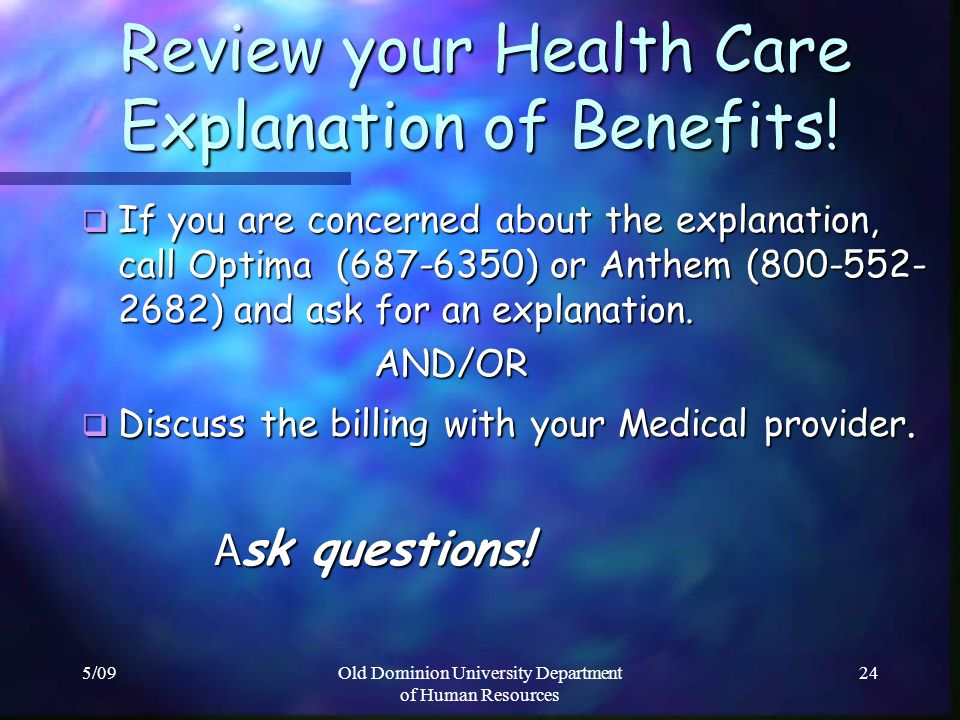 Review your Health Care Explanation of Benefits!