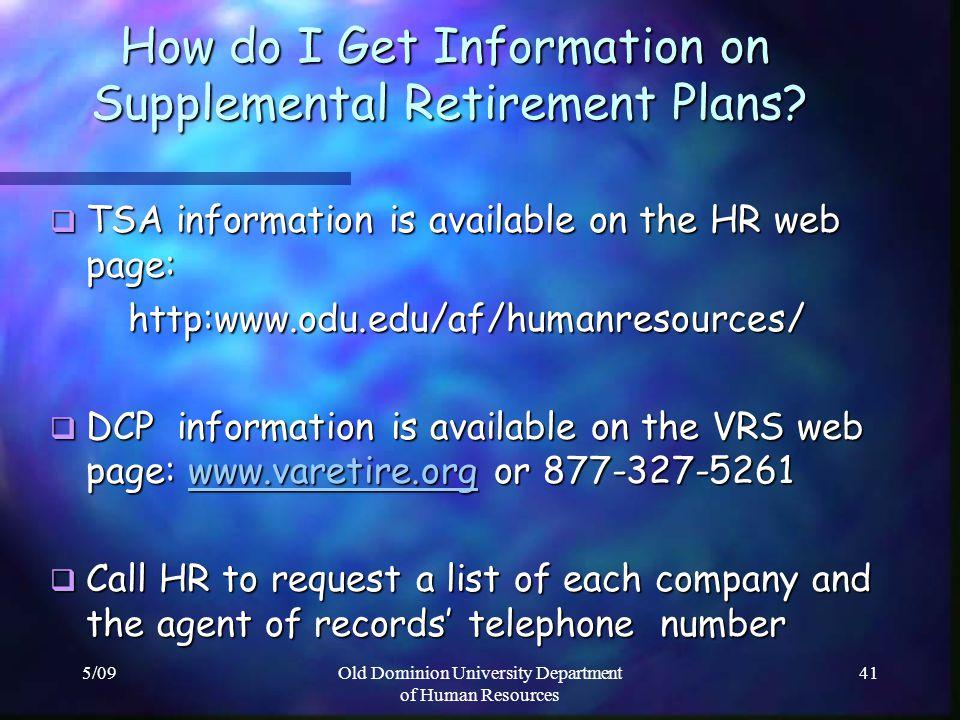 How do I Get Information on Supplemental Retirement Plans