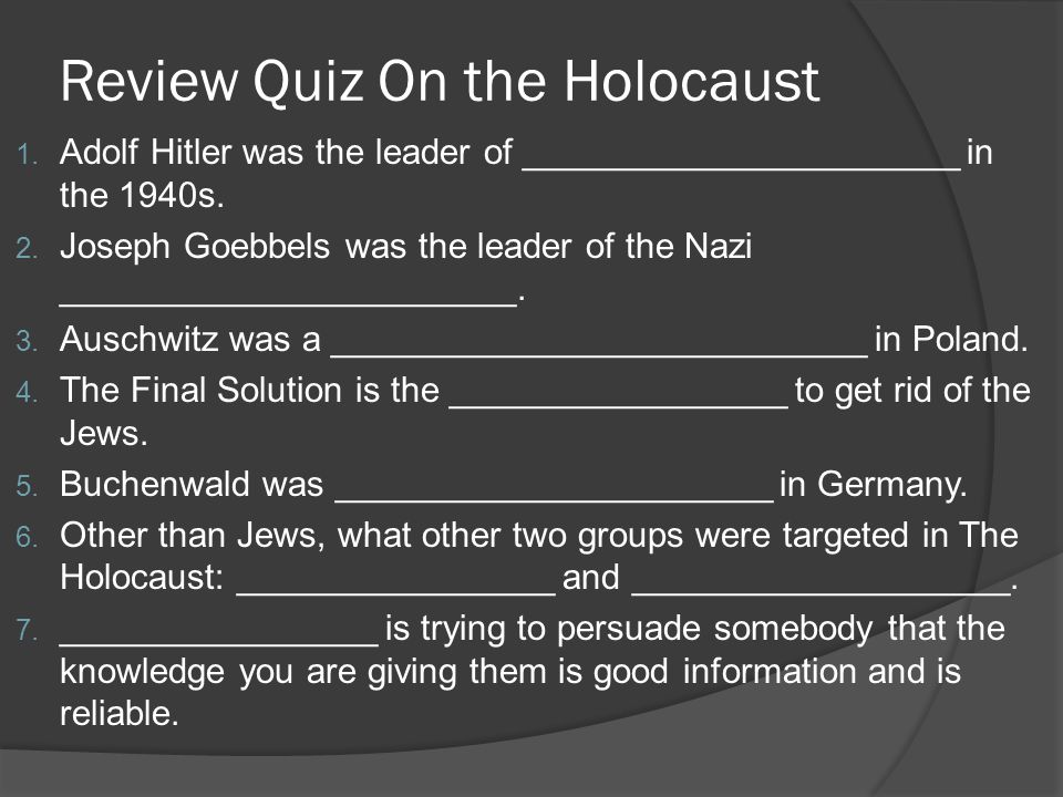 Review Quiz On the Holocaust