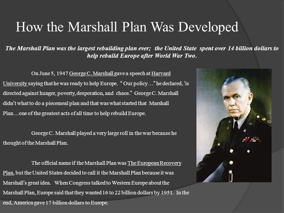 How the Marshall Plan Was Developed