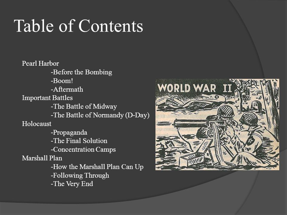 Table of Contents Pearl Harbor -Before the Bombing -Boom! -Aftermath