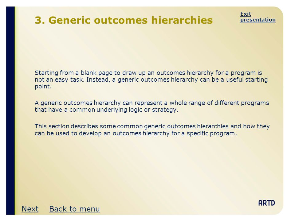 3. Generic outcomes hierarchies