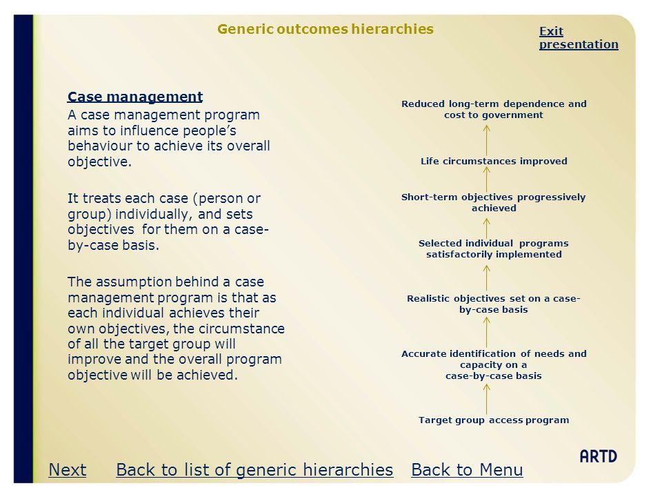 Generic outcomes hierarchies