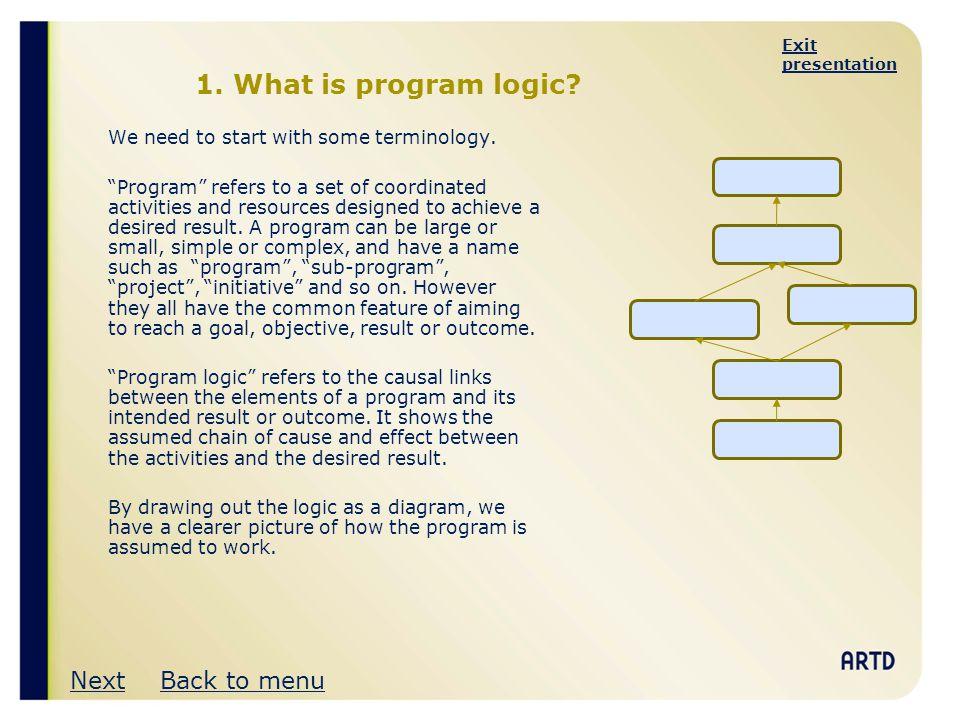 1. What is program logic Next Back to menu