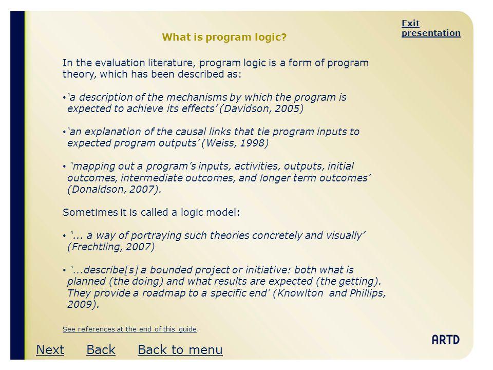 Next Back Back to menu What is program logic