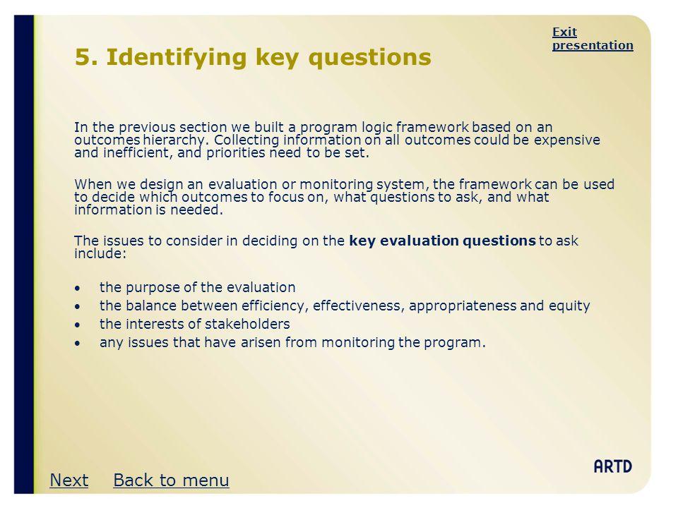 5. Identifying key questions