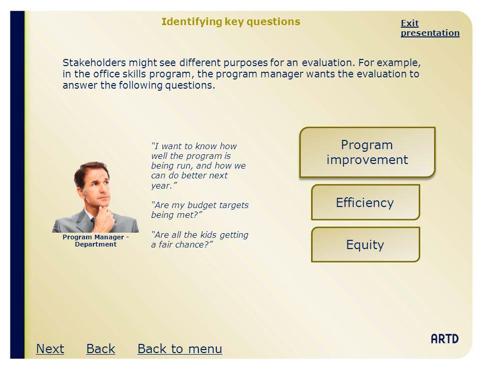 Identifying key questions