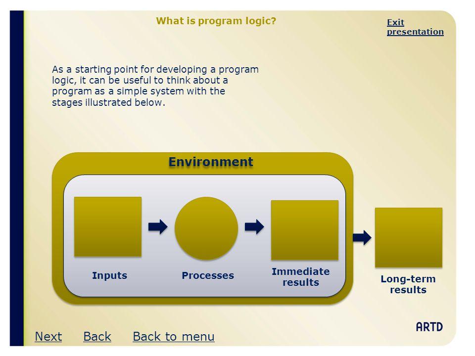 Environment Next Back Back to menu What is program logic