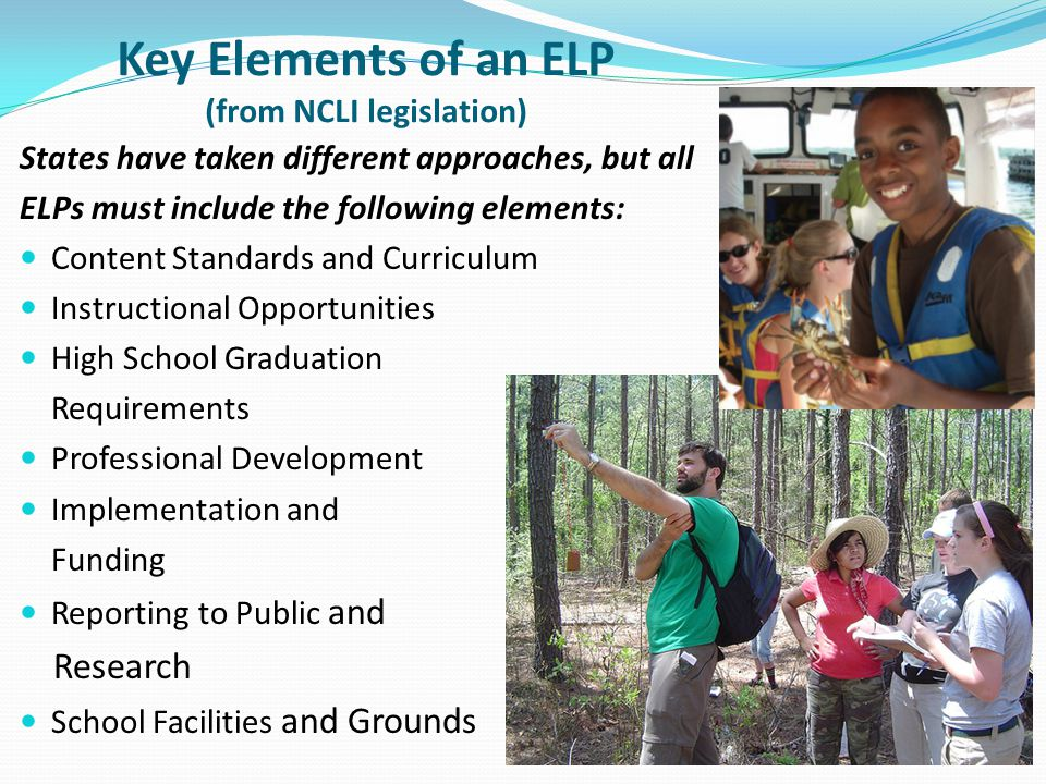 Key Elements of an ELP (from NCLI legislation)