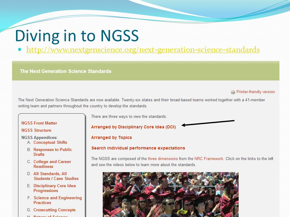 Diving in to NGSS http://www.nextgenscience.org/next-generation-science-standards
