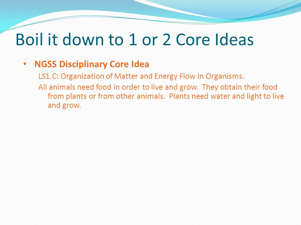 Boil it down to 1 or 2 Core Ideas