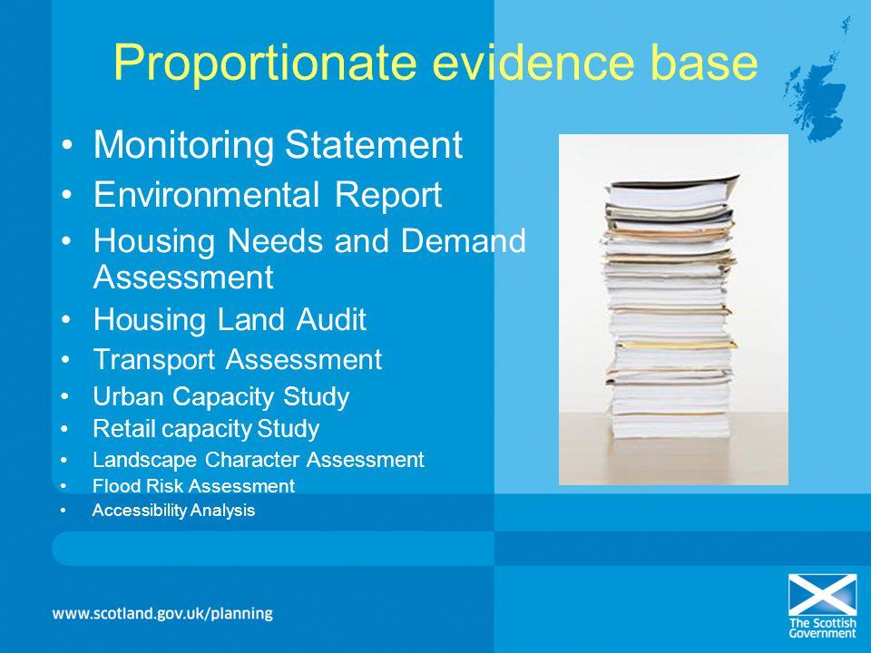 Proportionate evidence base