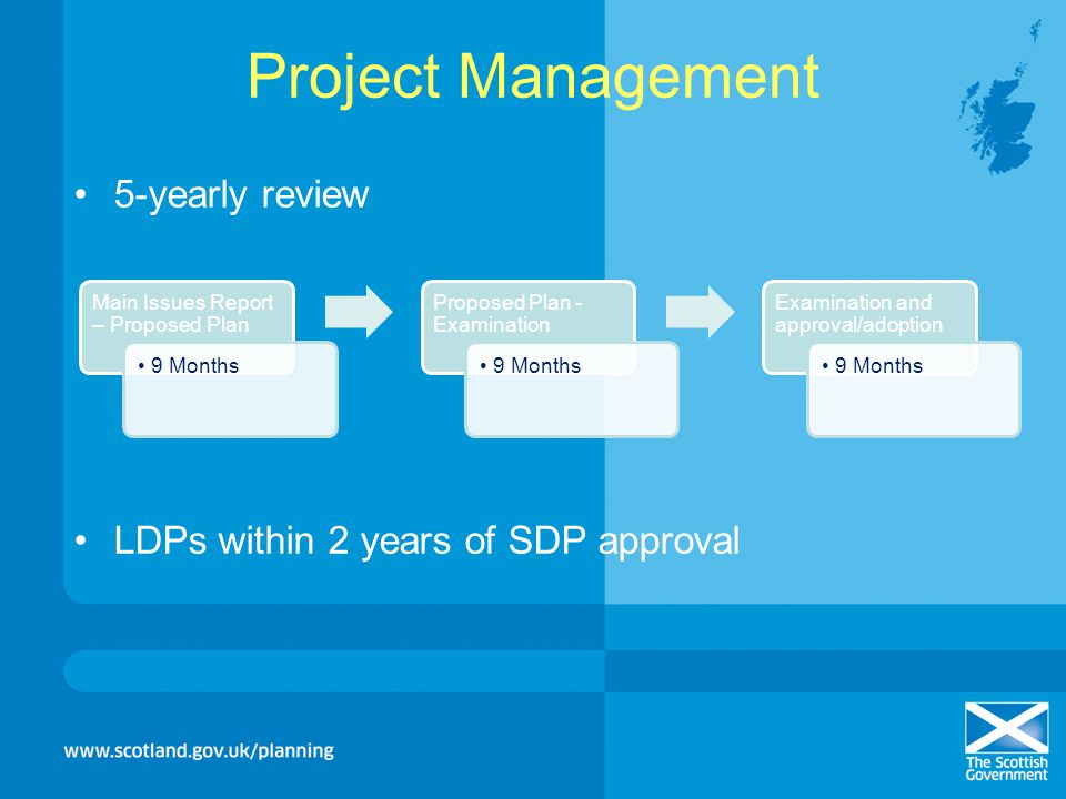 Project Management 5-yearly review LDPs within 2 years of SDP approval