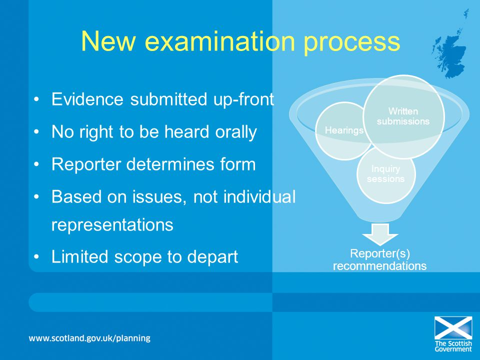 New examination process