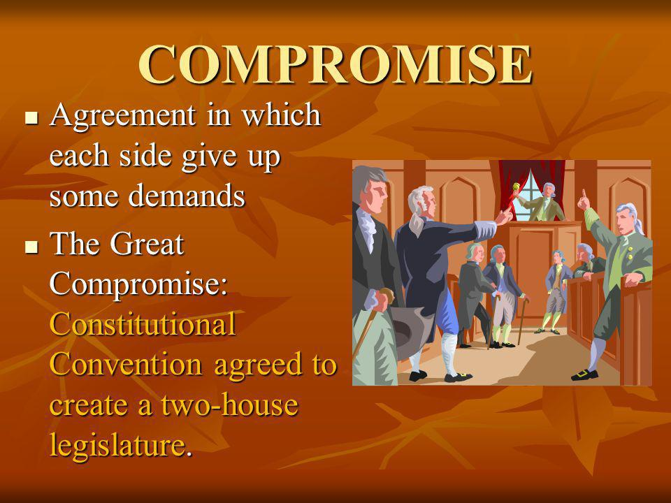 COMPROMISE Agreement in which each side give up some demands