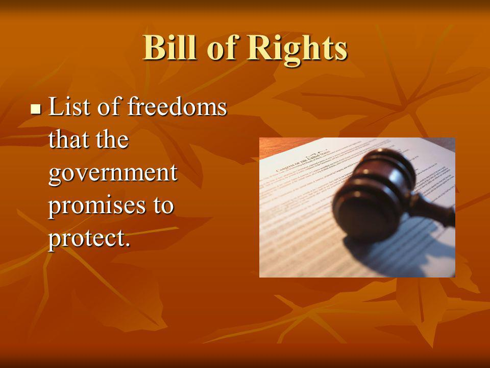 Bill of Rights List of freedoms that the government promises to protect.