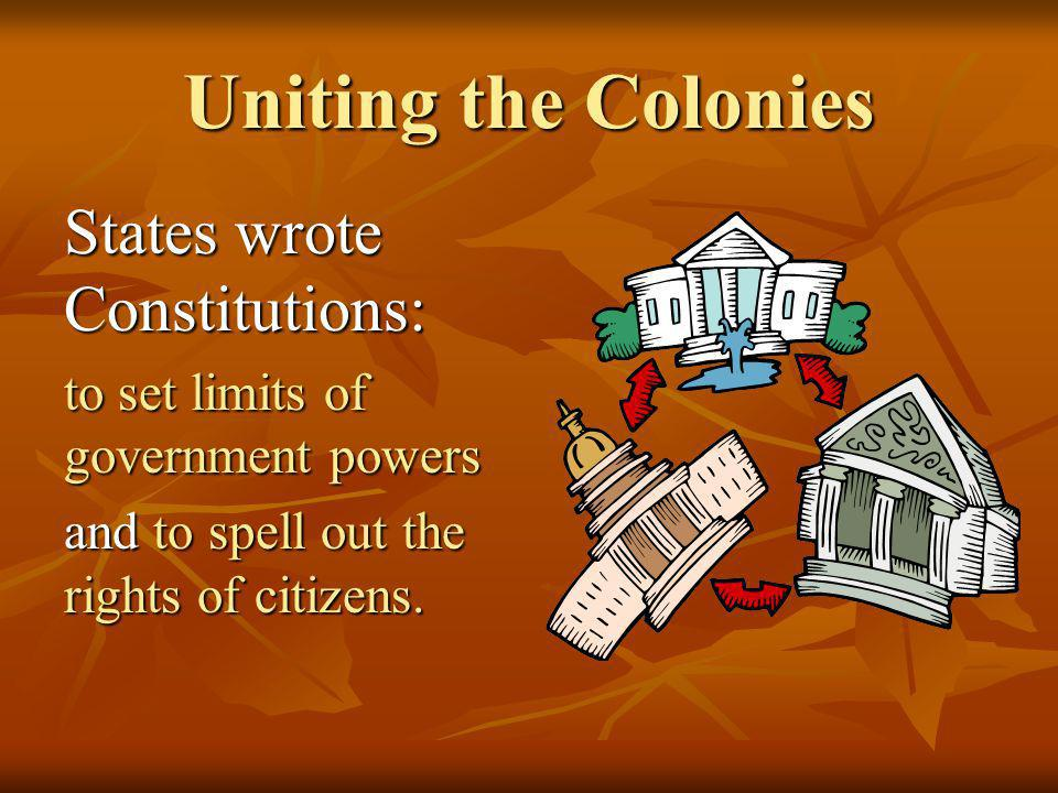 Uniting the Colonies States wrote Constitutions: