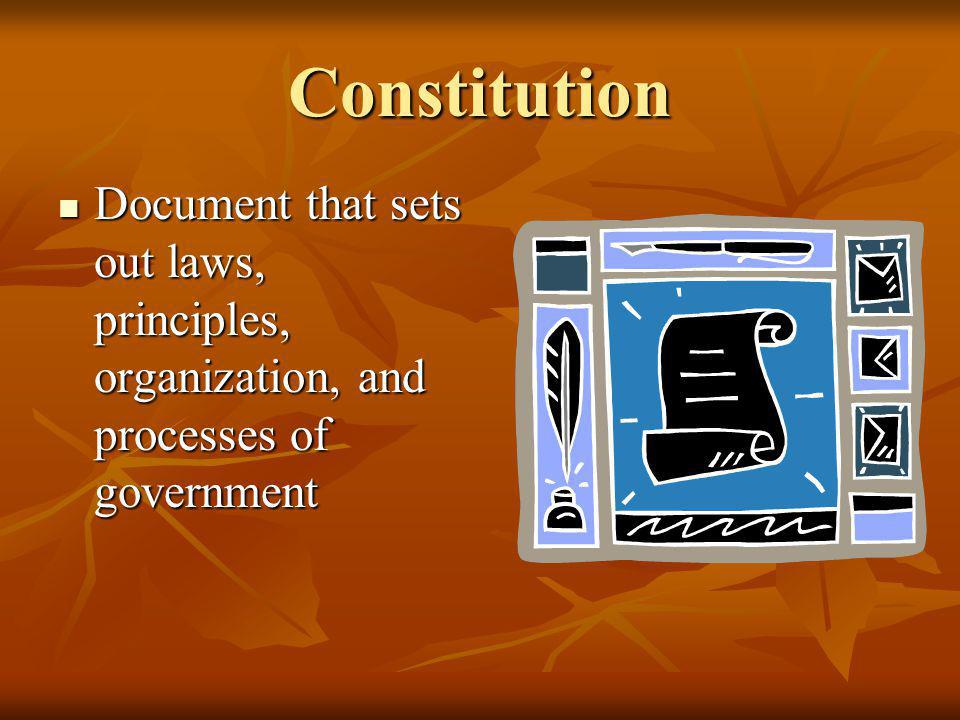 Constitution Document that sets out laws, principles, organization, and processes of government