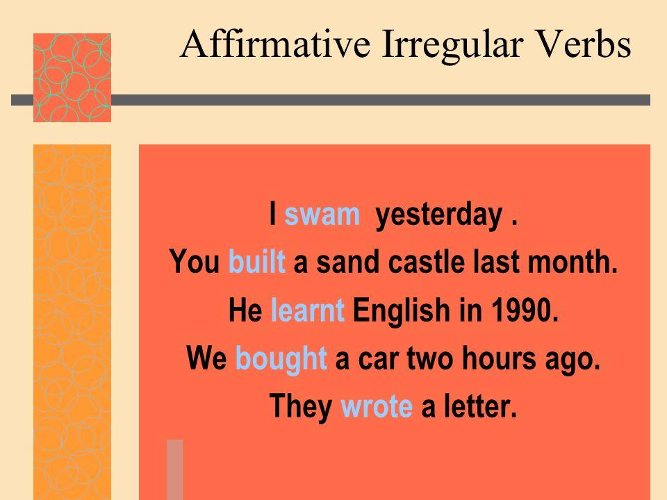 Affirmative Irregular Verbs