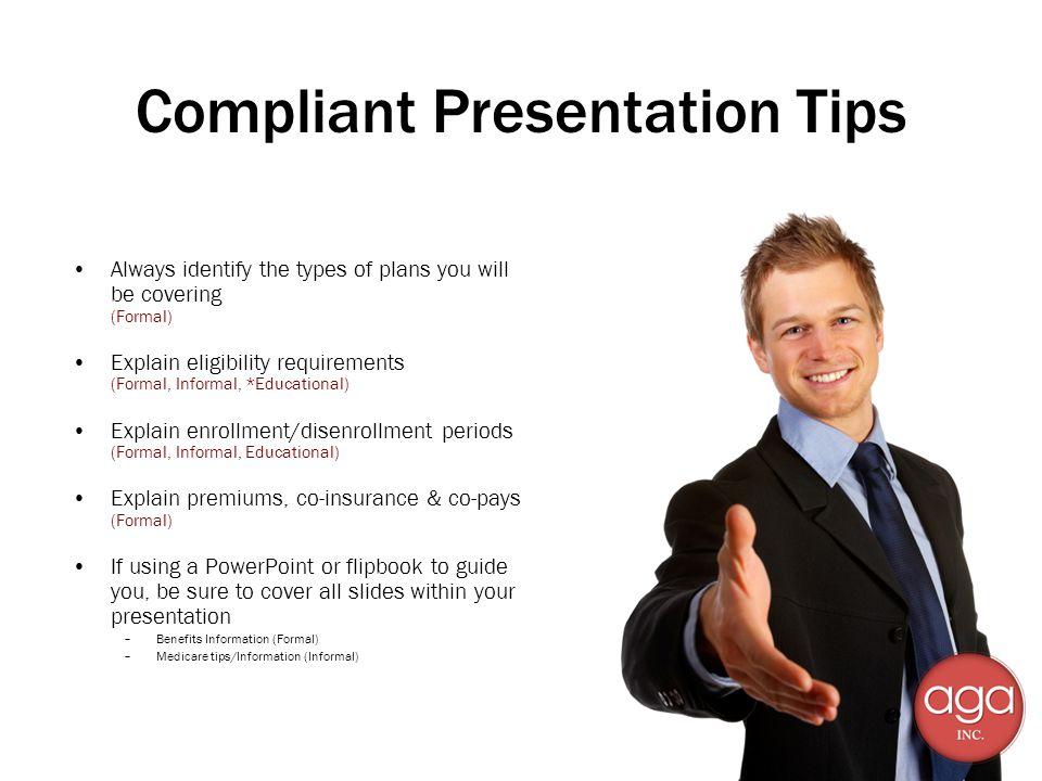 Compliant Presentation Tips