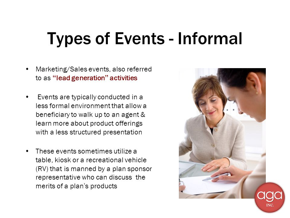 Types of Events - Informal
