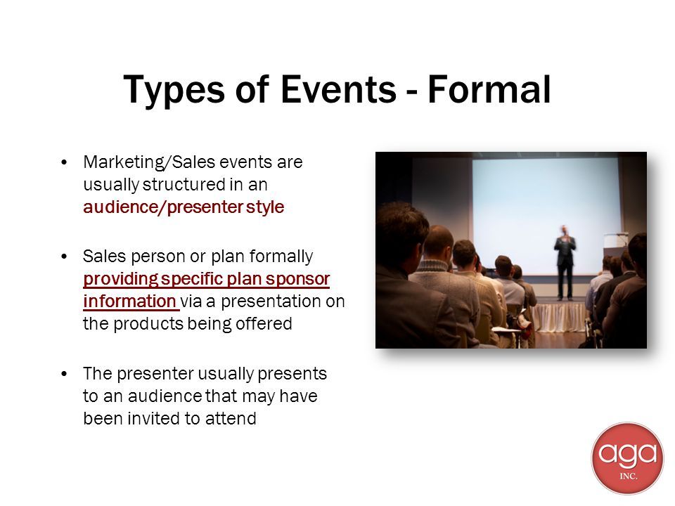 Types of Events - Formal