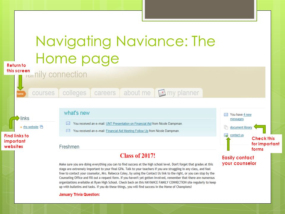 Navigating Naviance: The Home page