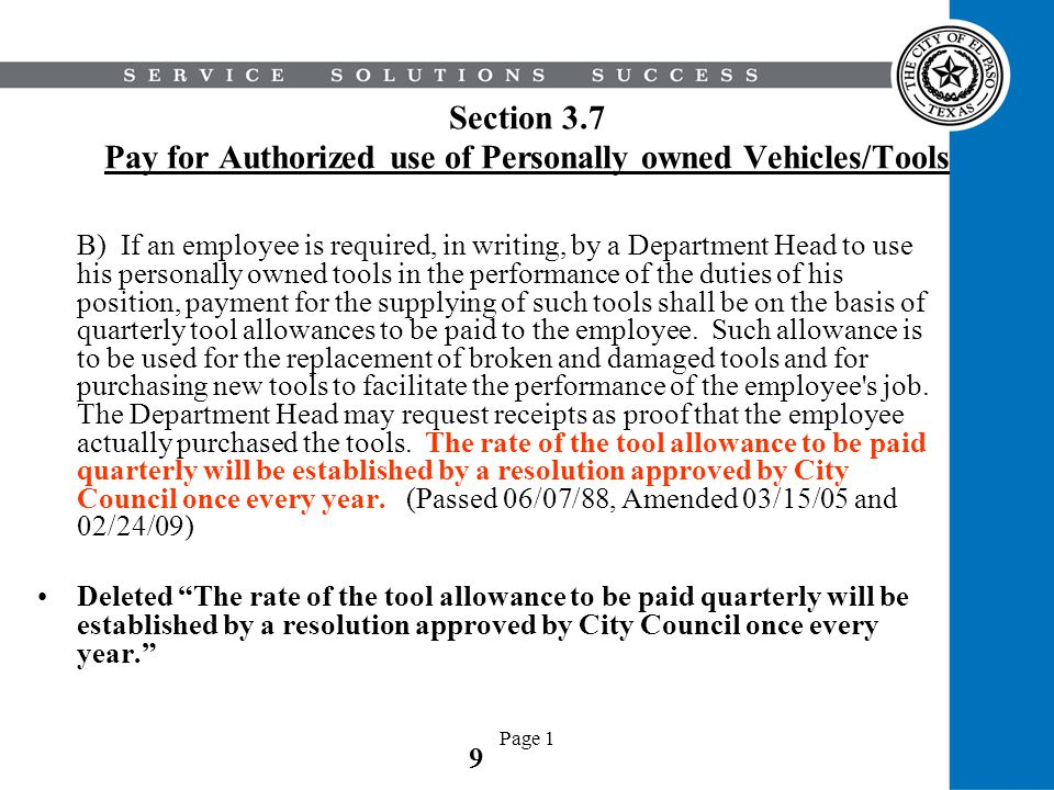Section 3.7 Pay for Authorized use of Personally owned Vehicles/Tools