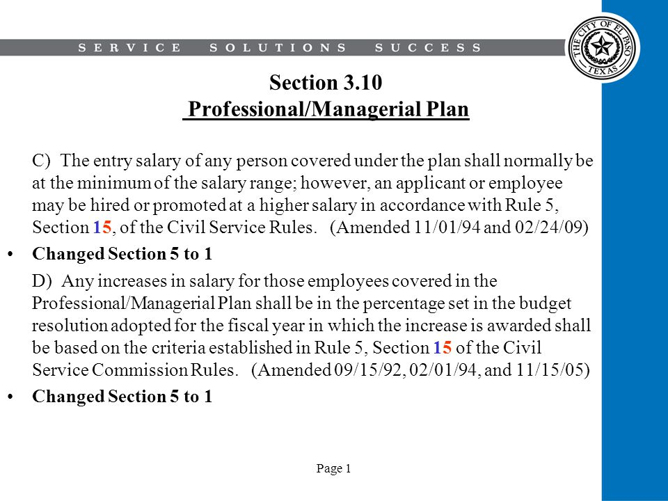 Section 3.10 Professional/Managerial Plan