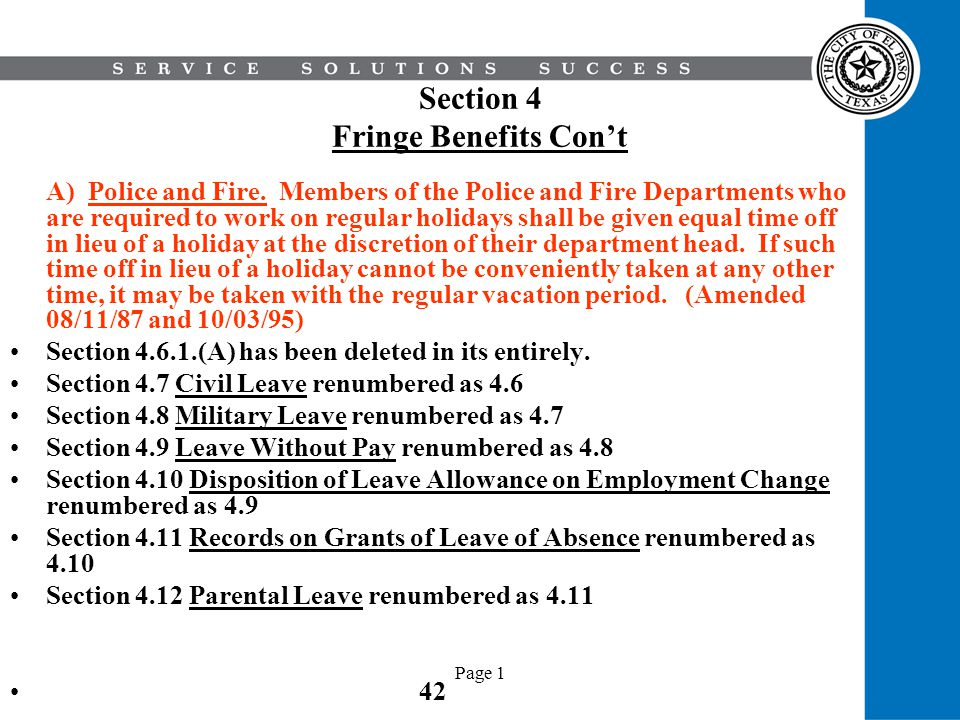 Section 4 Fringe Benefits Con't