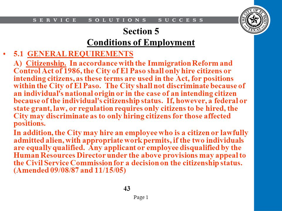 Section 5 Conditions of Employment