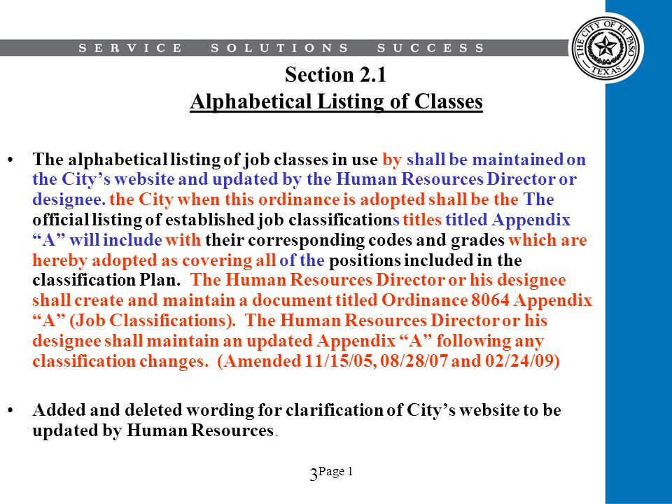 Section 2.1 Alphabetical Listing of Classes