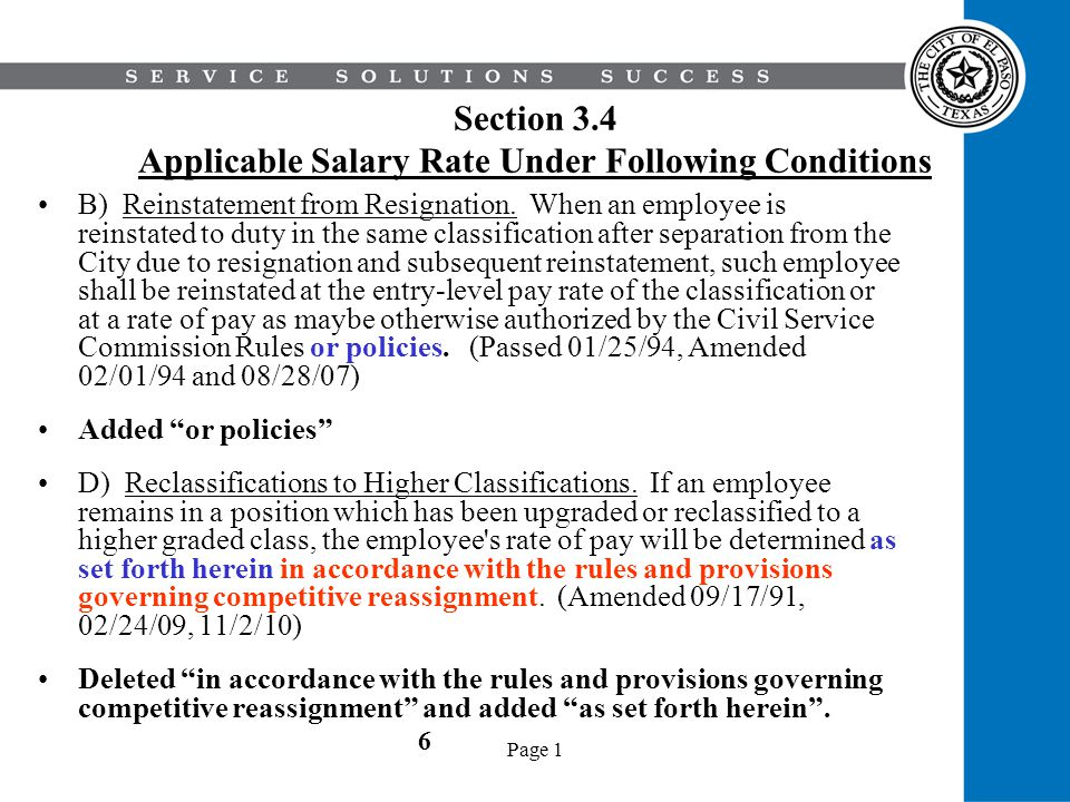 Section 3.4 Applicable Salary Rate Under Following Conditions