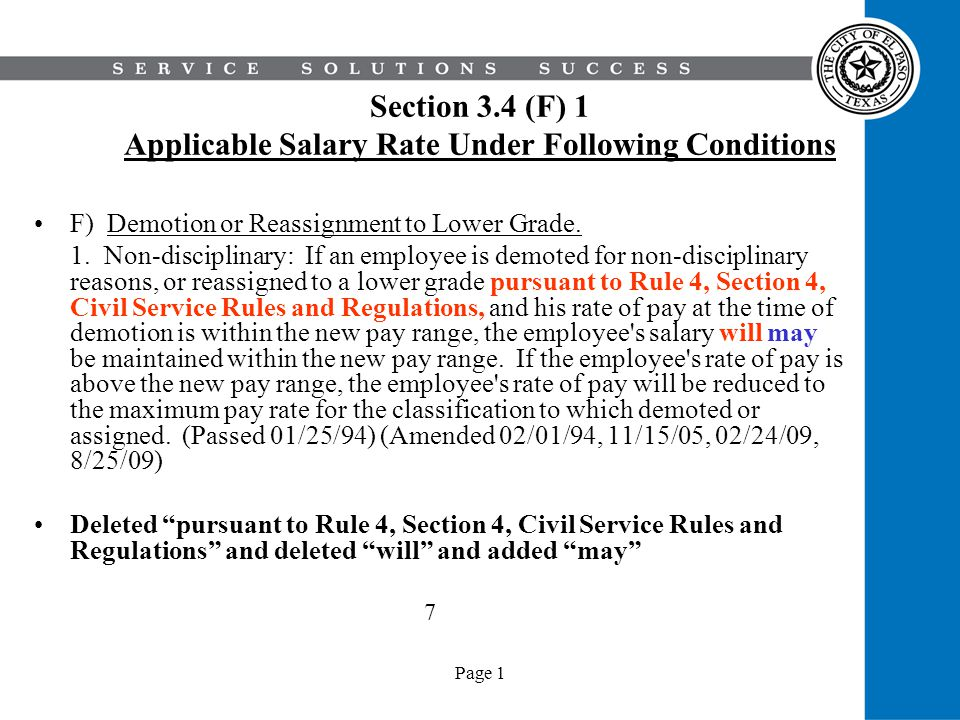 Section 3.4 (F) 1 Applicable Salary Rate Under Following Conditions
