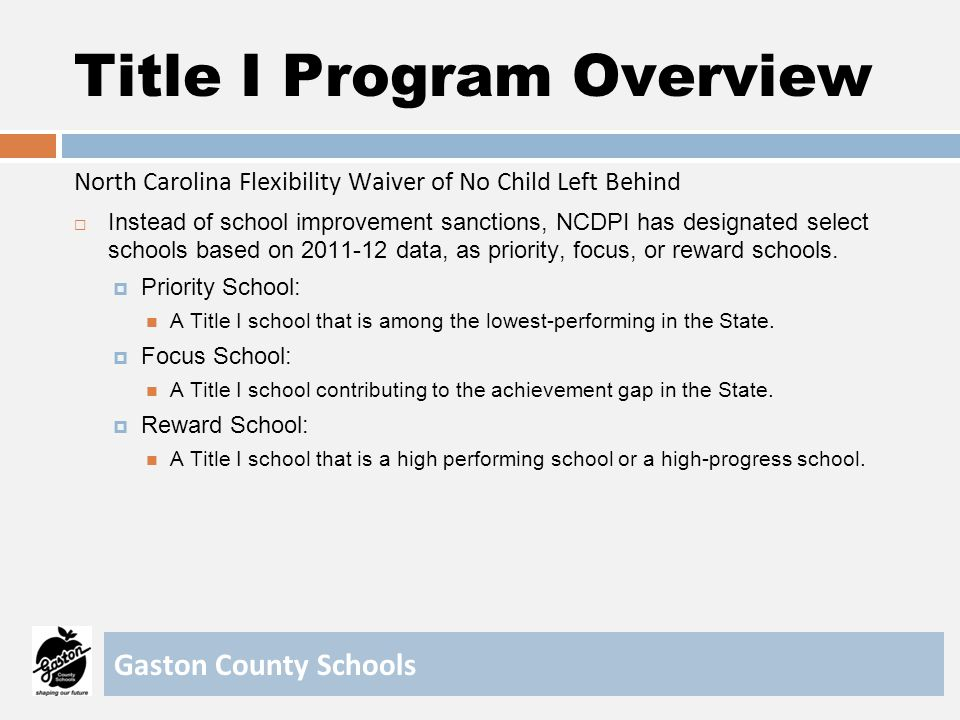 Title I Program Overview